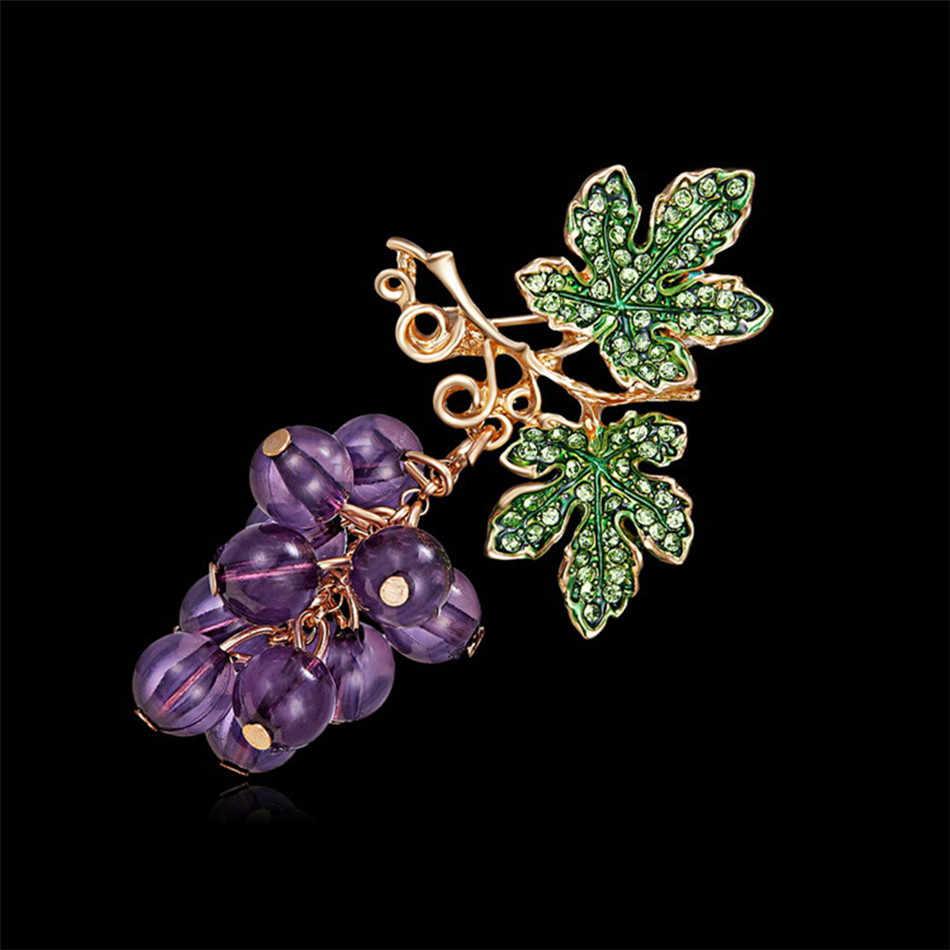 PENGBIN ブドウブローチかわいいビビッドフルーツ紫水晶ブドウコサージュドレスバッジピンジュエリーエレガントなウェディングブーケブローチ
