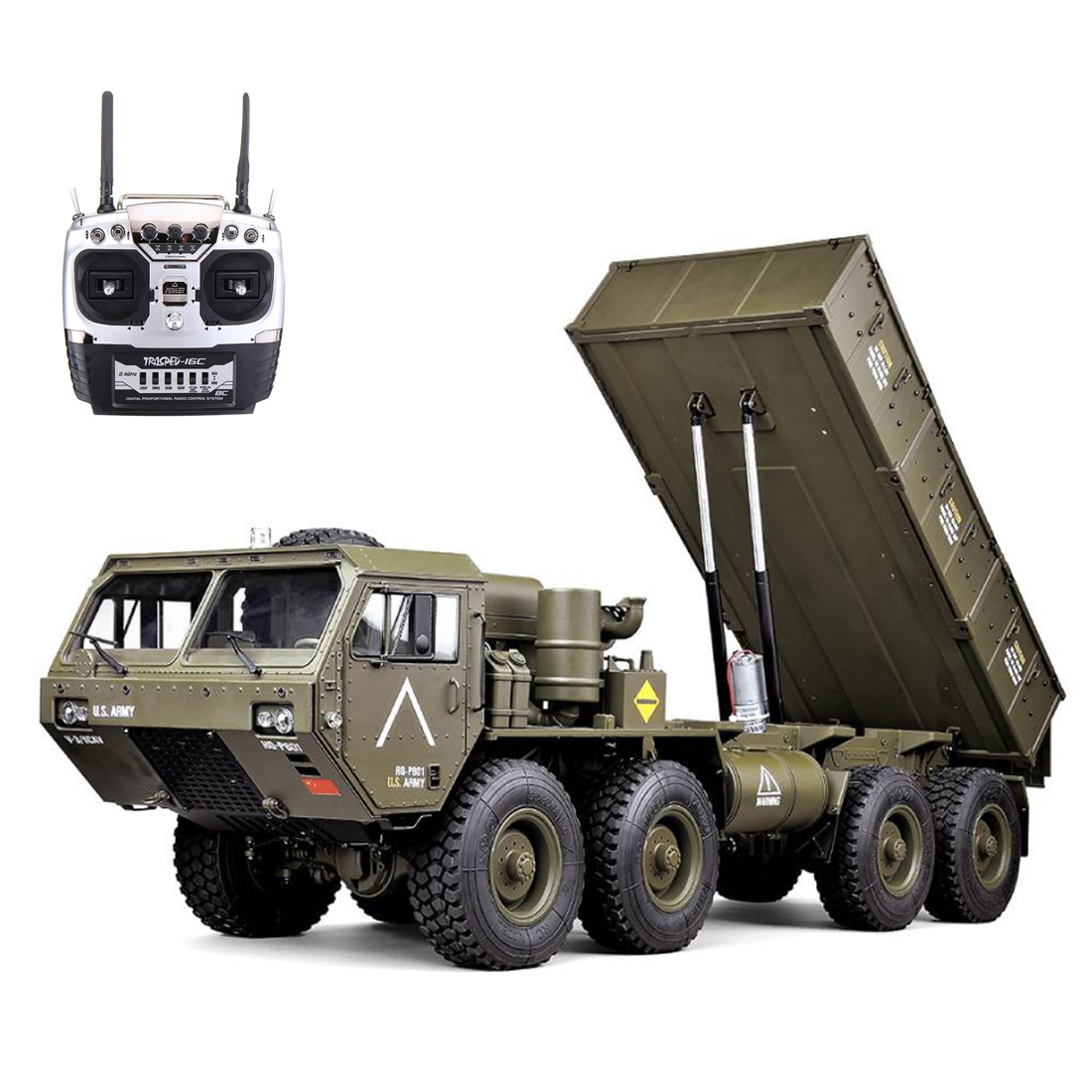 HG-P803A 1/12 2.4G 8 X 8 RC Car Dump Truck Military Truck With Light Sound Function Without Battery Charger - Upgraded Version