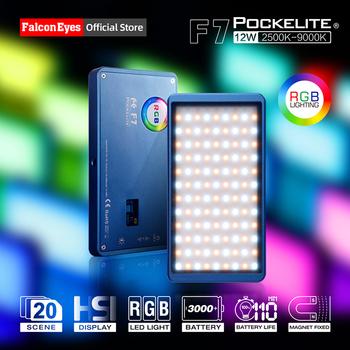 Falcon Eyes 12W mini kieszeń RGB LED Light na aparat przenośny do wideo Studio Youtube Vlog oświetlenie fotograficzne wypełnij lampę F7VLOG tanie i dobre opinie Falconeyes