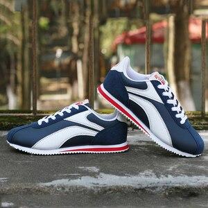 Image 4 - קל משקל סניקרס לגברים תחרה עד נעליים יומיומיות איש חיצוני הליכה זכר דירות כחול אפור ריצה הנעלה מאמני 8 8.5 9 9.5