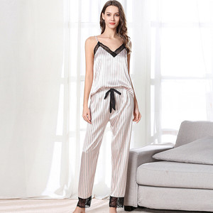 Image 2 - July's Song 3 Piece Woman Pajamas Set Stain Silk Sexy Sleepwear Shorts Female Top And Long Pants Strap Sling Summer Pajamy Suit