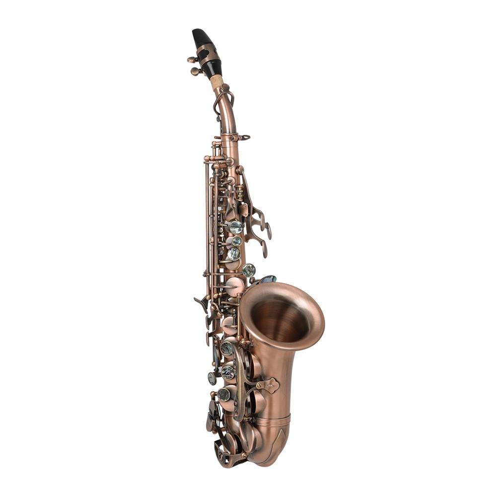 Высокое качество S97 саксофон высокий шаг маленькая изогнутая трубка Ретро стиль сопрано саксофон латунь музыкальный инструмент с тканевым