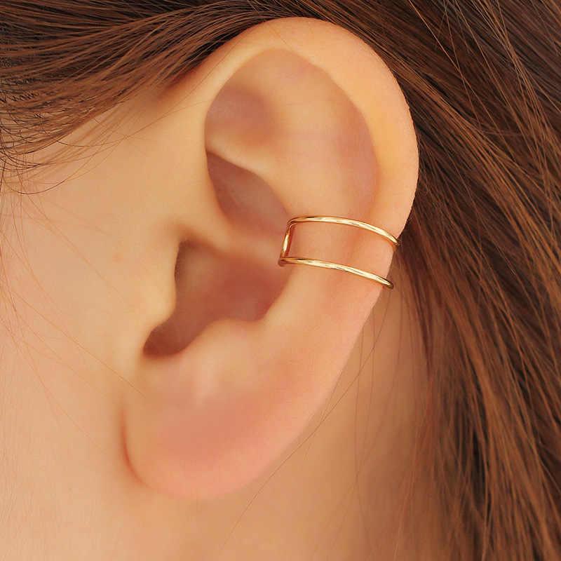 Vintage Punk Hollow เรขาคณิต U-shaped Ear Clip ต่างหูไม่เจาะหูที่มองไม่เห็นผู้ชายและผู้หญิงเครื่องประดับสาวของขวัญ
