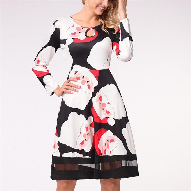 Vintage Women Ladies Long Sleeve Xmas Christmas Printing Round Neck Party Dress