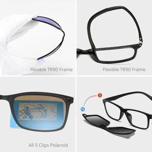 Image 5 - Gafas de sol polarizadas clásicas para hombre y mujer, anteojos de sol 5 en 1 con Clip en forma de espejo TR90, gafas ópticas graduadas para Miopía