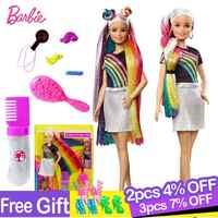Muñeca de pelo de arcoíris para niñas, accesorios y ropa de Barbie, Brinquedos, juguetes de moda