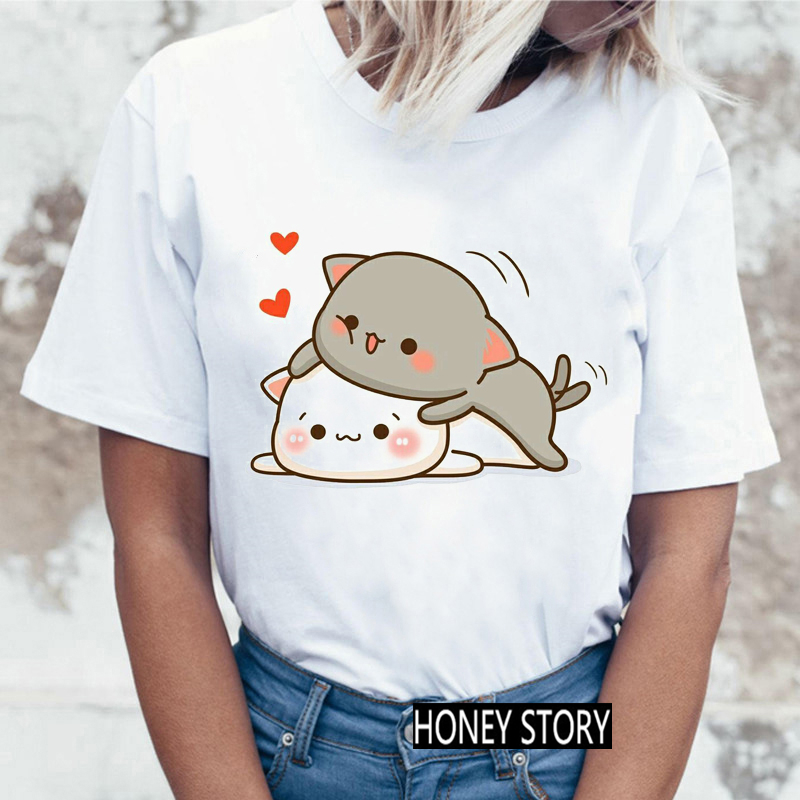 Ladies Streetwear Kawaii Pattern O-Neck T shirt Fashionable Women Harajuku Funny Peach Cat T-shirt Tops Casual Women Tshirt