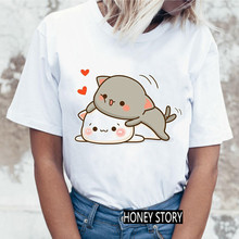 Ladies Streetwear Kawaii Pattern O-Neck T shirt Fashionable Women Harajuku Funny Peach Cat T-shirt Tops Casual Women Tshirt