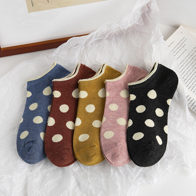 Women Cute Dot Cotton Socks 2020 New Spring Summer Girl Big Dot Print Ankle Casual Boat Socks  Harajuku Retro Short Short  Socks