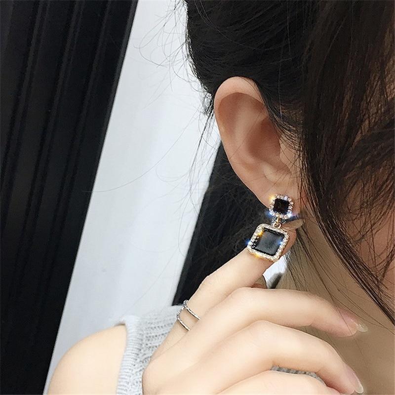 Boucles d'oreilles 2019 noir carré géométrique boucles d'oreilles pour femmes cristal de luxe mariage strass boucle d'oreille couleur or EB447 3