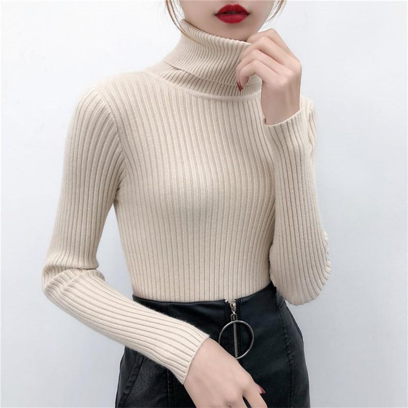 Женский свитер, повседневный однотонный пуловер с высоким воротником, теплый мягкий вязаный хлопковый пуловер с длинными рукавами, весна-о...