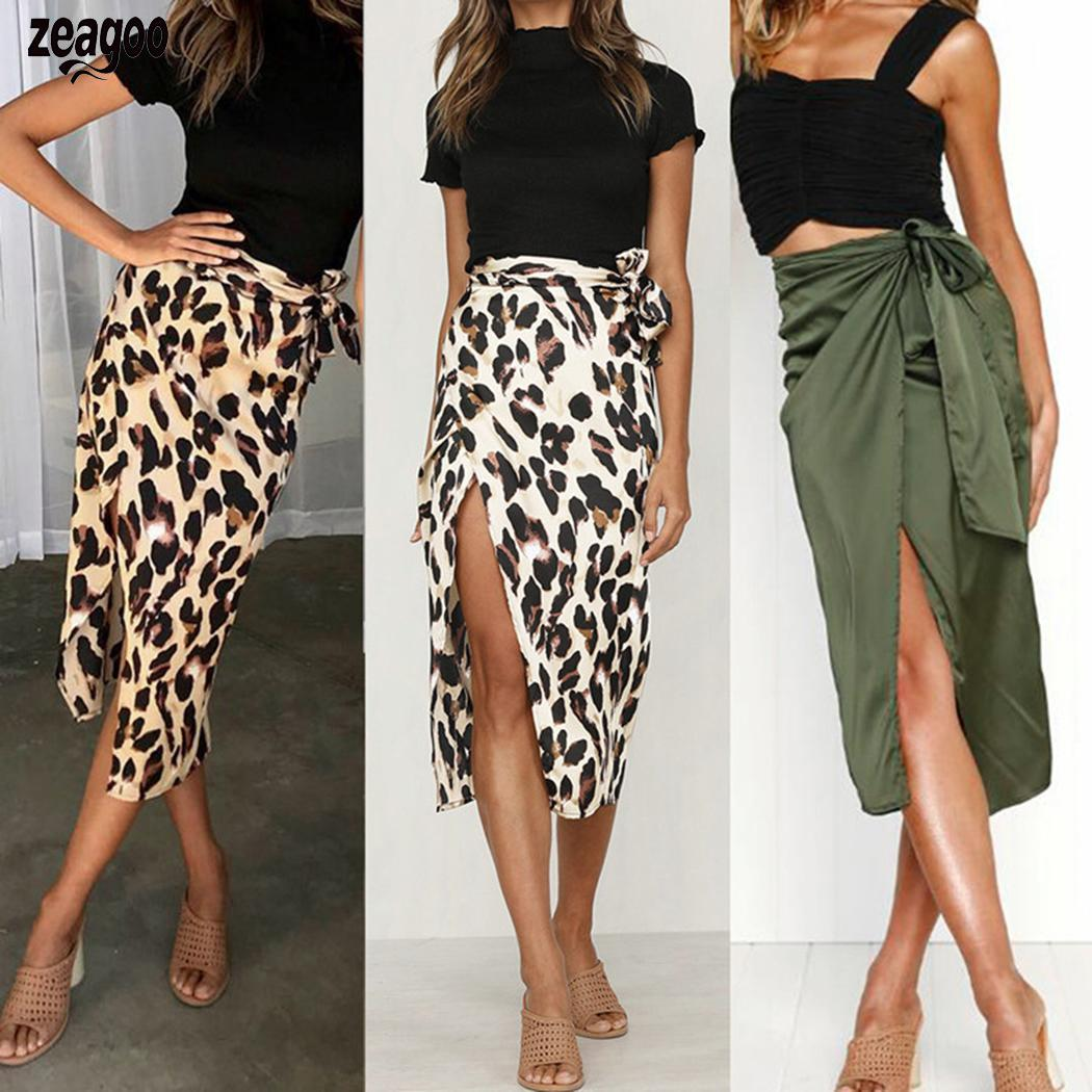 Women Bandage Split Summer Beach Evening Party Green, Brown, Apricot Wrap Casual Mid Skirt Solid, Leopard