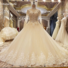 LS88607 robe de mariage 2017 lace up back floor length ball gown wedding dresses organza real photos