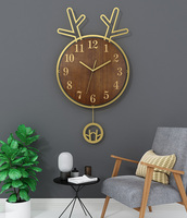 Vintage Large Decorative Wood Wall Clock Oversized Modern Unique Wall Clocks Living Room Watch Wall Watches Home Decor II50BGZ