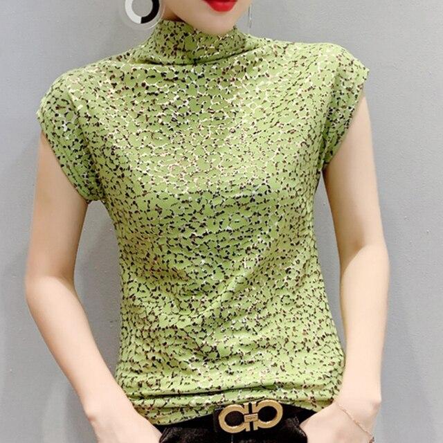 Shintimes-Camiseta con estampado de leopardo para mujer, Camiseta de cuello de tortuga, camiseta de manga corta para mujer, ropa de talla grande 3XL 2020 1