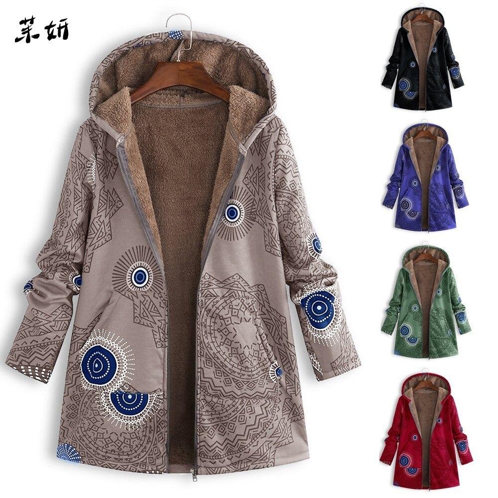 Print Womens Coat Winter Warm Vintage Pockets Oversize Hooded Coats Female Casual Outwear Fleece Jacket Plus Size