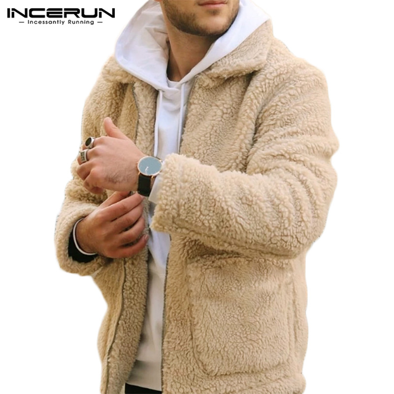 INCERUN Winter Men Jackets Lapel Long Sleeve Faux Fur Lambswool Pockets Coat Zippers Outerwear Fluffy Fashion Men Overcoats 2020