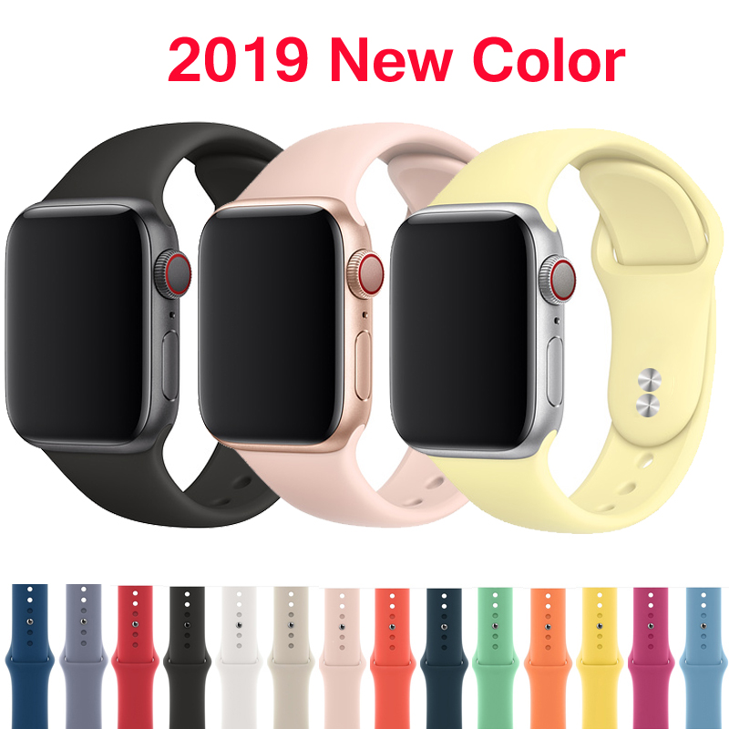 Strap for Apple watch band 42mm 38mm 44mm 40mm correa iwatch 4 3 2 sport silicone bracelet pulseira Apple watch 4 accessories цвета apple watch 4