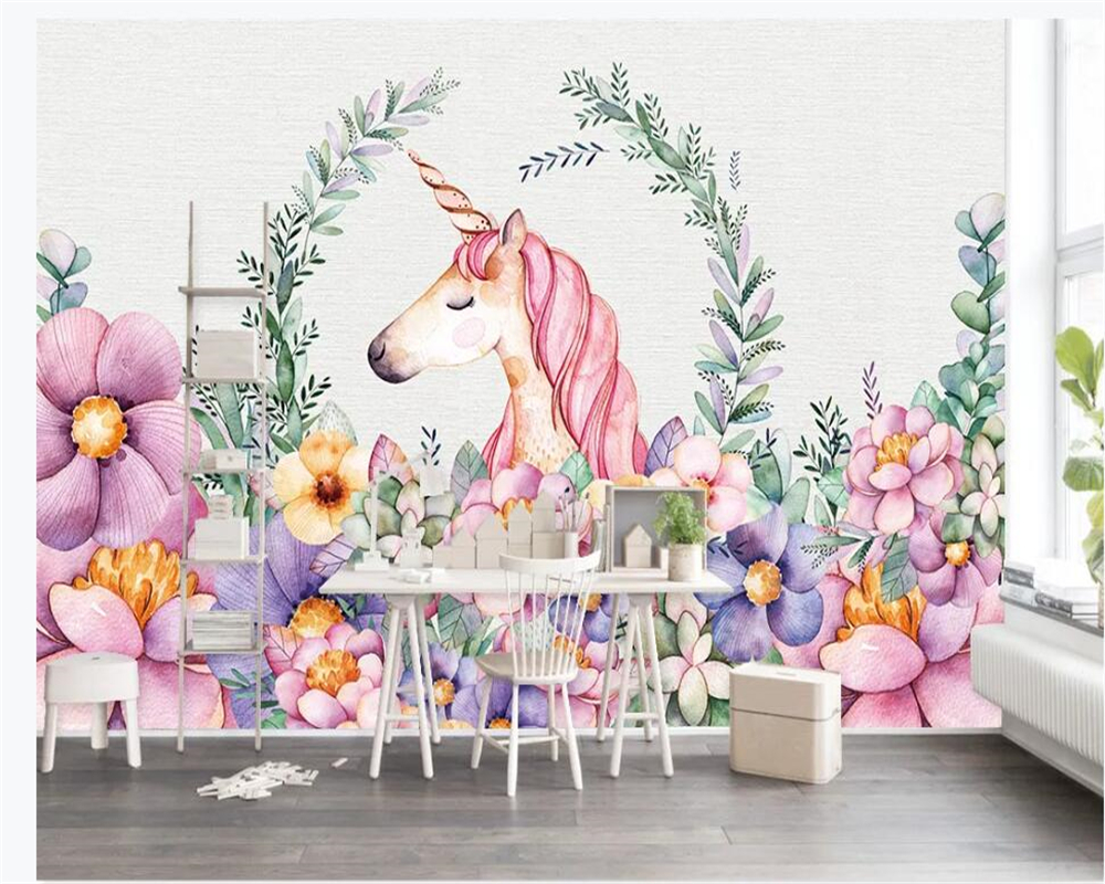 Beibehang Custom Photo Mural Wallpaper Hand-painted Flowers Unicorn TV Children Room Bedroom Wall 3d Wallpaper Papier Peint