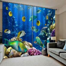 Blue ocean curtains kids curtain 3D Window Curtain For Living Room Bedroom Drapes Cortinas Customized size