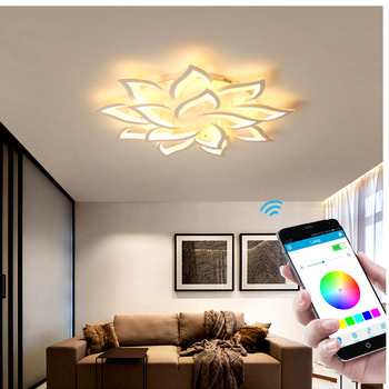Modern home living room bedroom room LED chandelier study lamp creative acrylic chandelier APP intelligent lighting