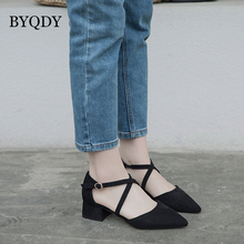 BYQDY Square Heels Flock Woman Pumps Pointed Toe Cross-Tied Med Heels Pumps Nude Elegant Dress  Black Pink Pumps Shoes 4-11