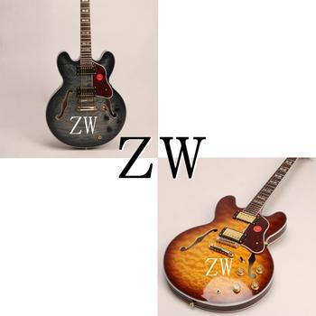 Wholesale Top Quality Semi Hollow Body Custom C345 Electric Guitar 4A Grade Quilted Maple Top Grover Tuner image