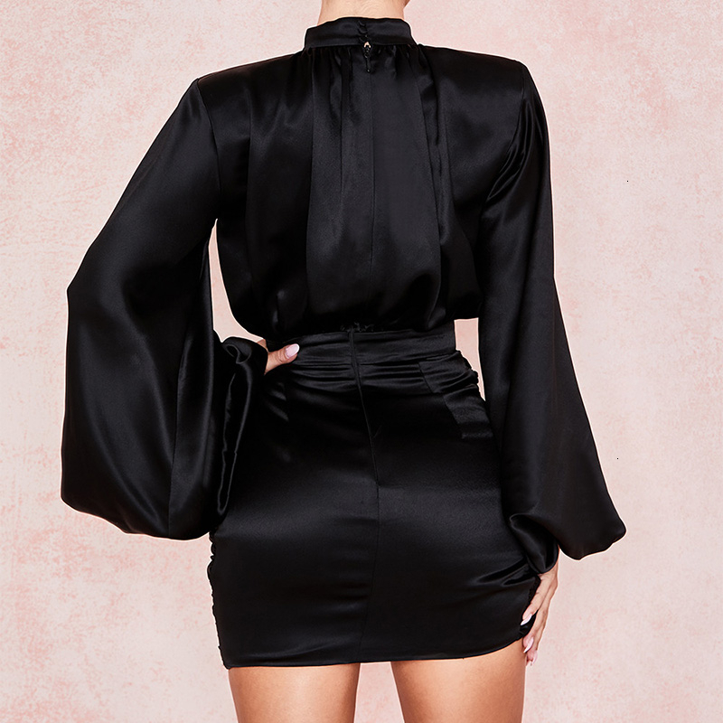 Justchicc Mini Pleated Satin Party Dress Women Bandage Sexy Dress Zipper Autumn long Sleeve Bodycon Club Black Dress Robe Femme