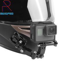 Gopro Accessories 4 Ways Turntable Button Mount Go Pro Hero 4 5 6 7 8 9 SJCAM EKEN H9 H9R Motorcycle Helmet Chin Bracket arm