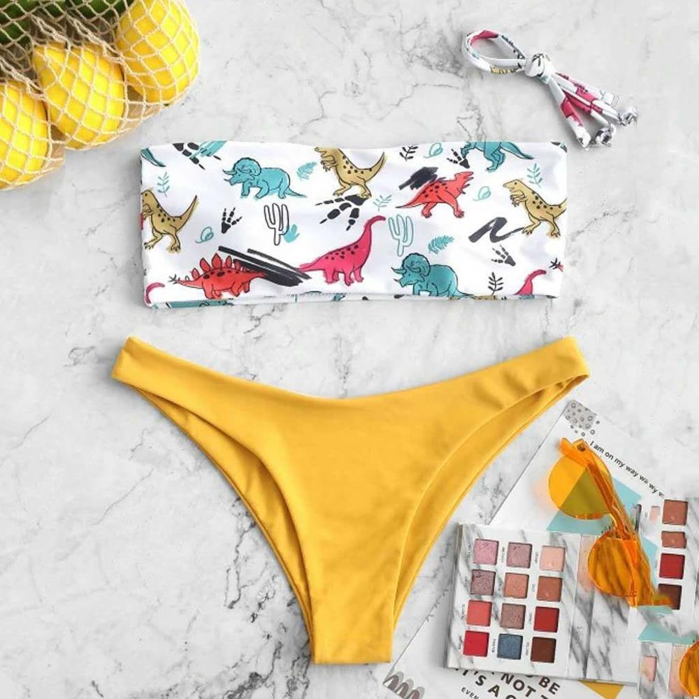 2020 New Fashion Dinosaur Print Bikini Set Swimsuit High Waist Bathing Suit Swimwear Women Beach Wear Bikinis