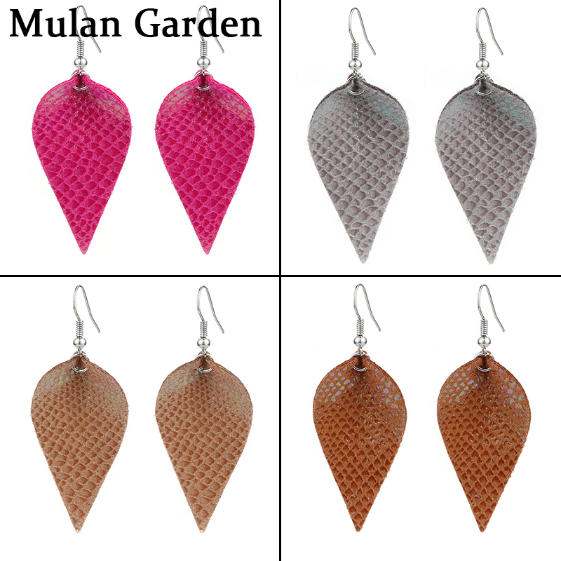 Leather SILVER Leaf Earrings Leather Jewelry Silver Color Earrings gift for girl