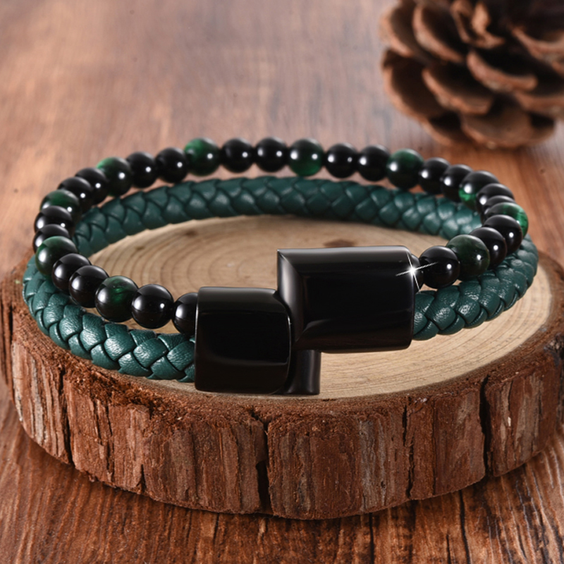 MingAo Punk Men Jewelry Beaded Braclets Chakra Green Braided Leather Bracelet Stainless Steel Magnetic Clasp Fashion Bangles