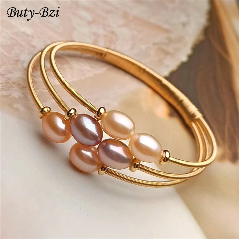 Mix Color Natural Freshwater Pearl Oval Beads Handmade Multi Rows Winding Gold Plated Bangle Luxury Jewelry Gift Woman Bracelets