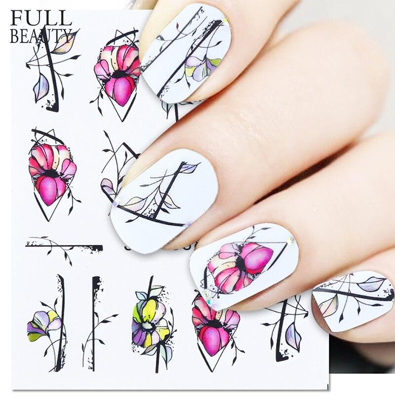 1pc Black Flowers Sticker On Nails Leaves Floral Dazzling Nail Art Decorations Water Decals Slider Manicure Design CHSTZ880-901