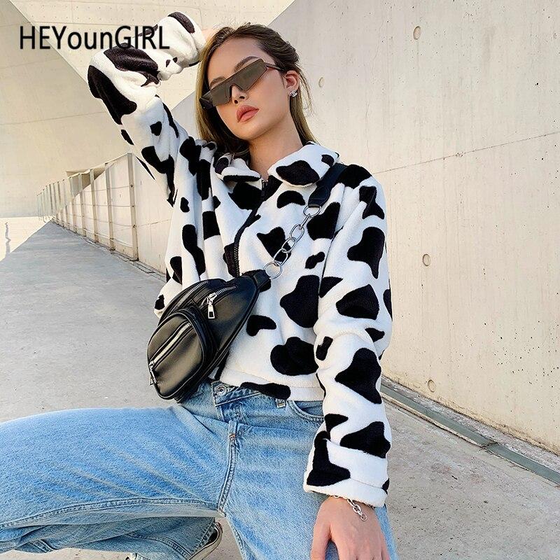 HEYounGIRL Cow Print Faux Fur Coat Women Animal Printed Casual Furry Crop Teddy Jacket Zipper Harajuku Korean Overcoat Autumn