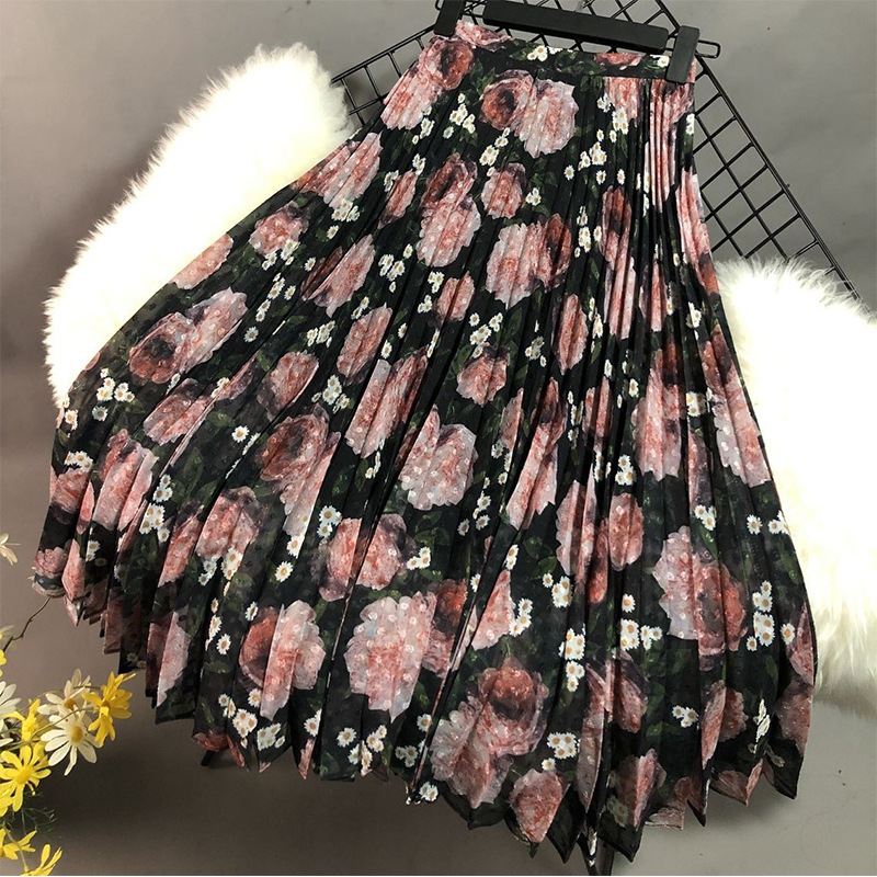 2020 Spring Elegant Flower Print High Waist Women Summer Skirts Women Elegant Long Chiffon Skirt Faldas Jupe Femme Saia