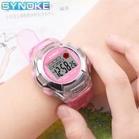 SYNOKE-reloj deportivo para niños, cronógrafo Digital LED, correa de silicona, resistente al agua, cronómetro