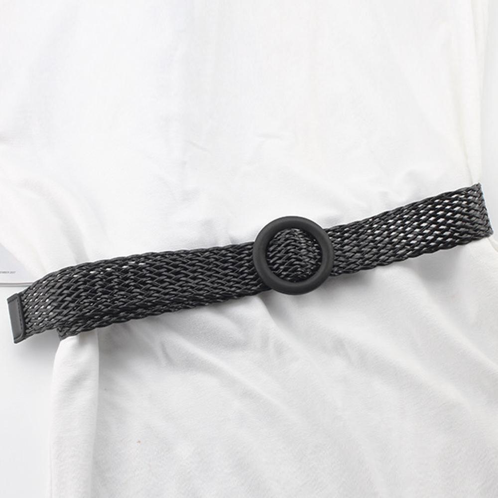 Винтажный плетеный пояс в стиле бохо, летний Однотонный женский ремень, Круглый Деревянный гладкий ремень с пряжкой, поддельные соломенные широкие ремни для женщин, Лидер продаж - Цвет: black01