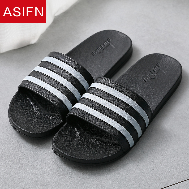 ASIFN Summer Slippers Simple Men Slides Bathroom Non-slip Soft Bottom PVC Sandals Male Flip Flops Shoes Woman Zapatos De Hombre
