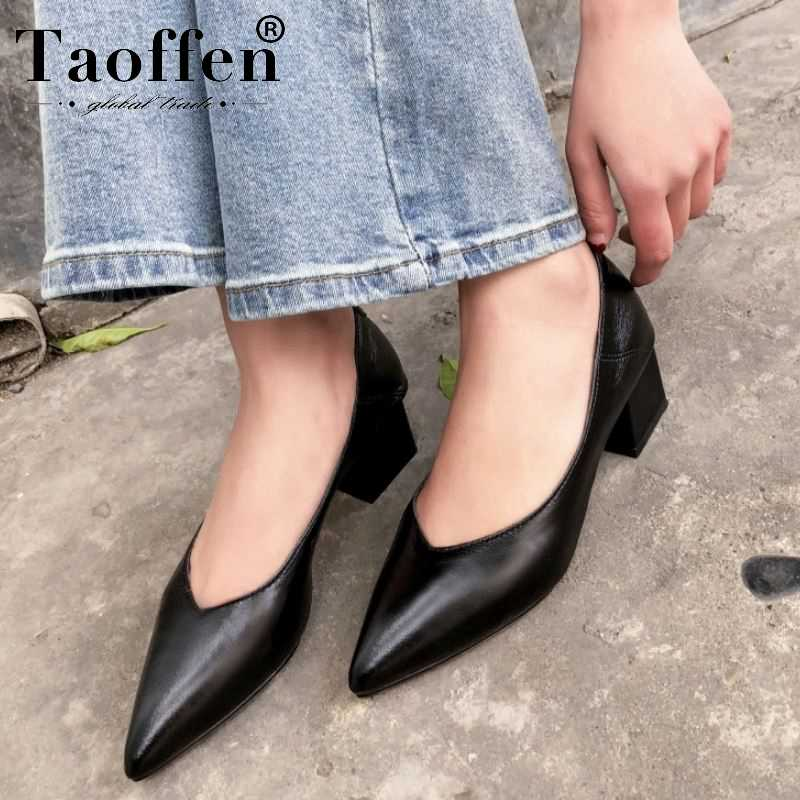 Taoffen Women Real Leather Pumps Party
