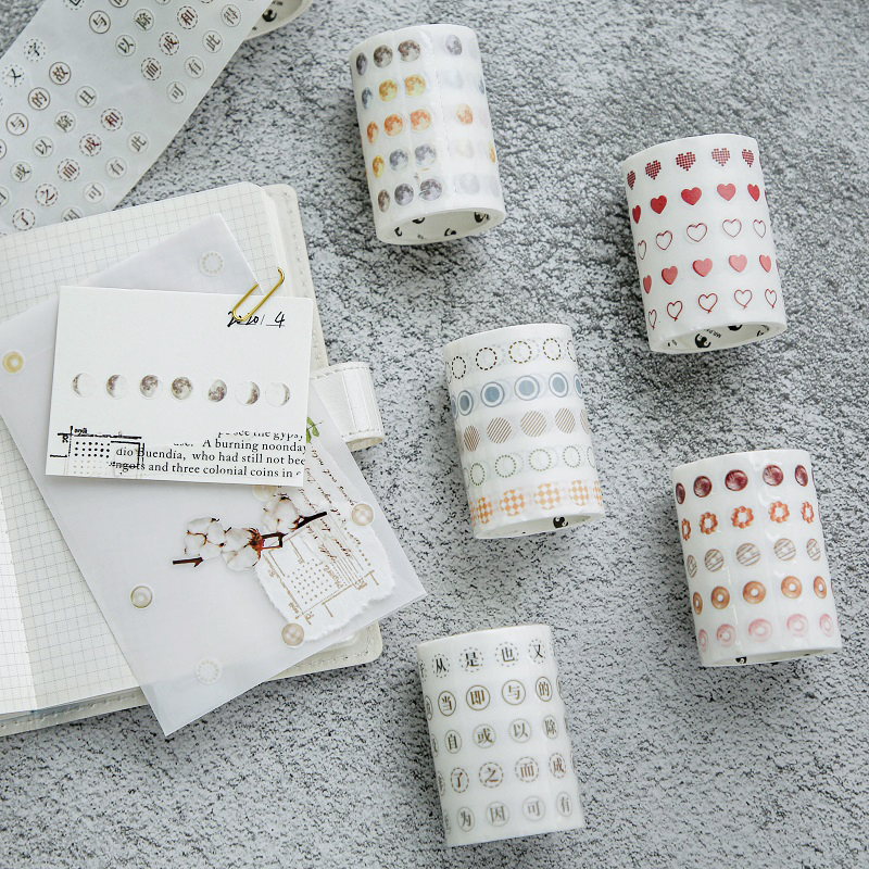 6 Cm Wide Basic Dot Series Washi Tape Decorative Adhesive Tape Moon Masking Tape For Stickers Scrapbooking DIY Stationery Tape