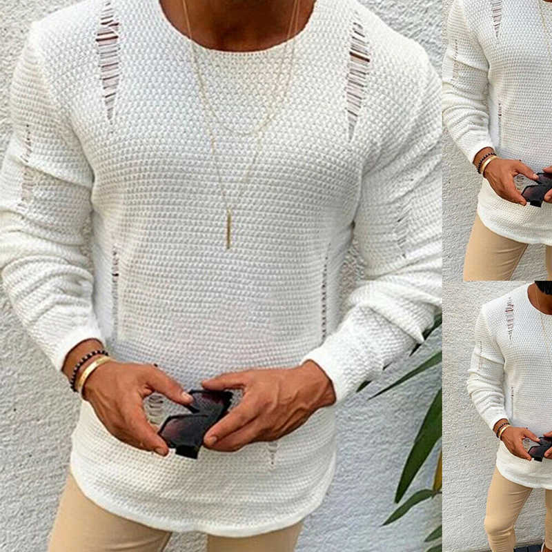 NEUE 2020 Männer Zerrissene Sweatshirt Oversize Innen Heraus Belastend Sweatshirt Kanye West Zerrissene Raglan Pullover Hip Hop Streetwear