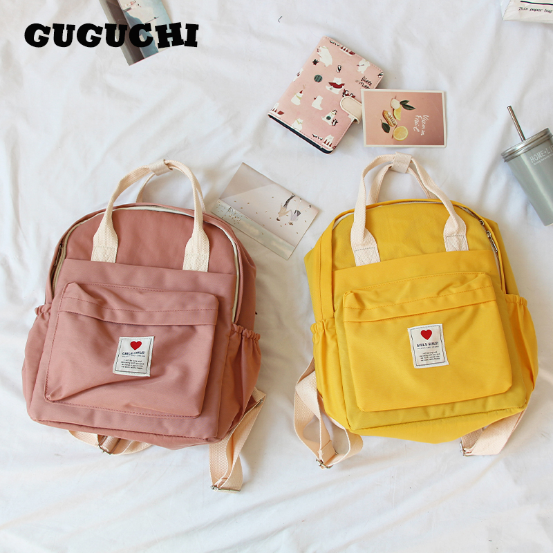 Women Backpacks Korean Style Cute Ins Hot Soft Girls School Shoulder Bags Teenager Canvas Small Fresh Ulzzang Purple Backpacks