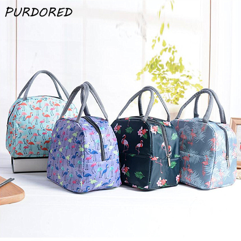PURDORED 1 Pc Flamingo Print Lunch Bag Portable Insulated Lunch Box Bag Thermal Women Food Bags Cooler Lunch Bag Lonchera