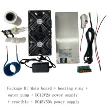 2500W ZVS Induction Heater Induction Heating PCB Board Heating Machine+Heating Coil+70mL rucible+Pump+Power Supply
