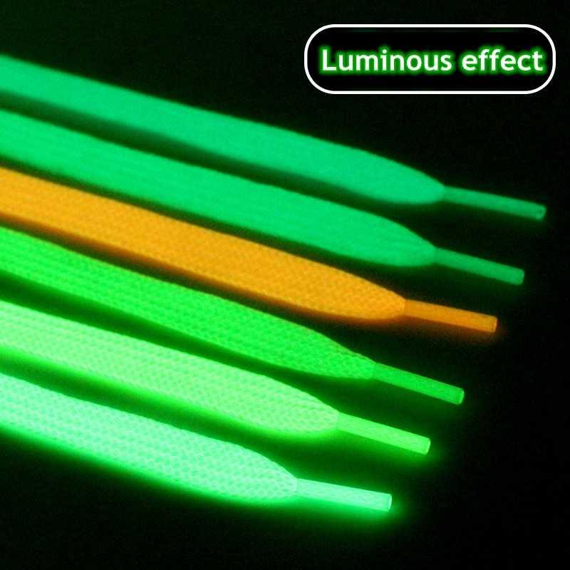 1 Paar Lichtgevende Schoenveters Platte Sneakers Canvas Veters Glow In De Donkere Nacht Kleur Fluorescerende Schoenveter 80/100/120/140Cm
