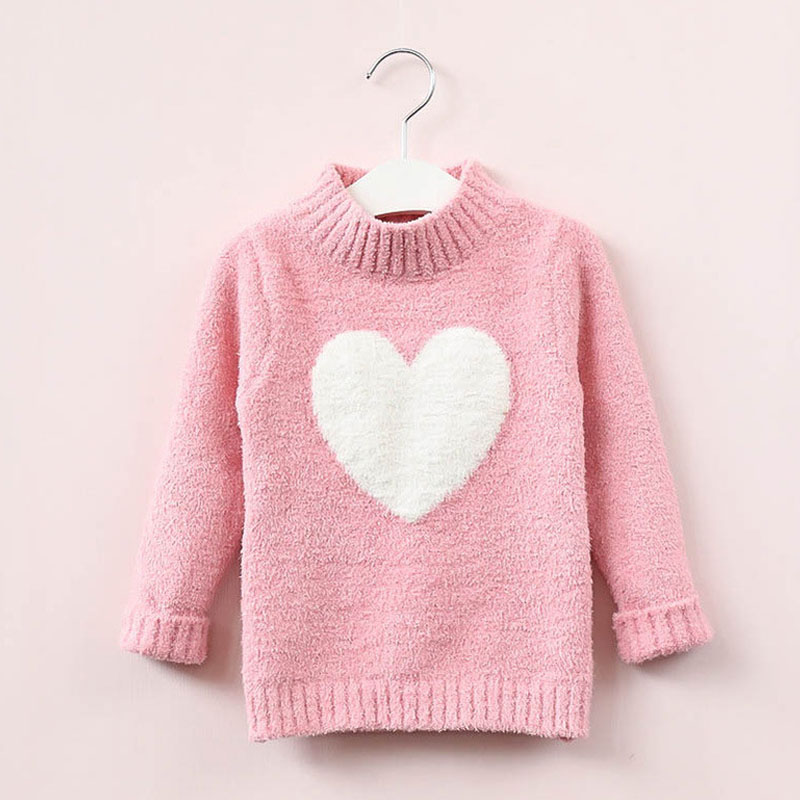 sweater girl 2019 winter long sleeve warm spring knitted baby girls pullover top 4 8 years heart