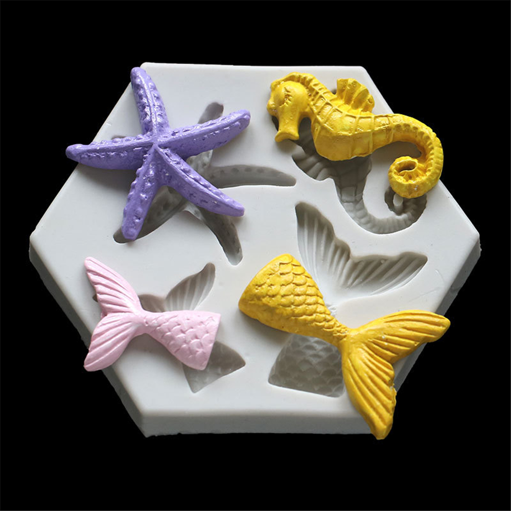 Mermaid Starfish Seahorse Shaped Silicone Fondant Cake Decorating Mold Epoxy Resin Glue Molds Baking Tools Kitchen Accessories
