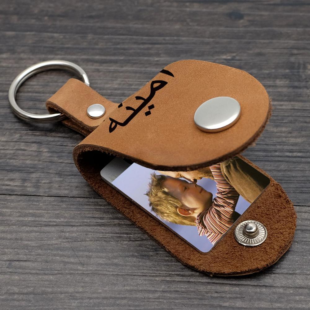 Personalizado da Foto na Caixa de Couro Chaveiro da Foto Presente de Aniversário para o Pai ou a Mãe Chaveiro Nome Árabe Personalizado