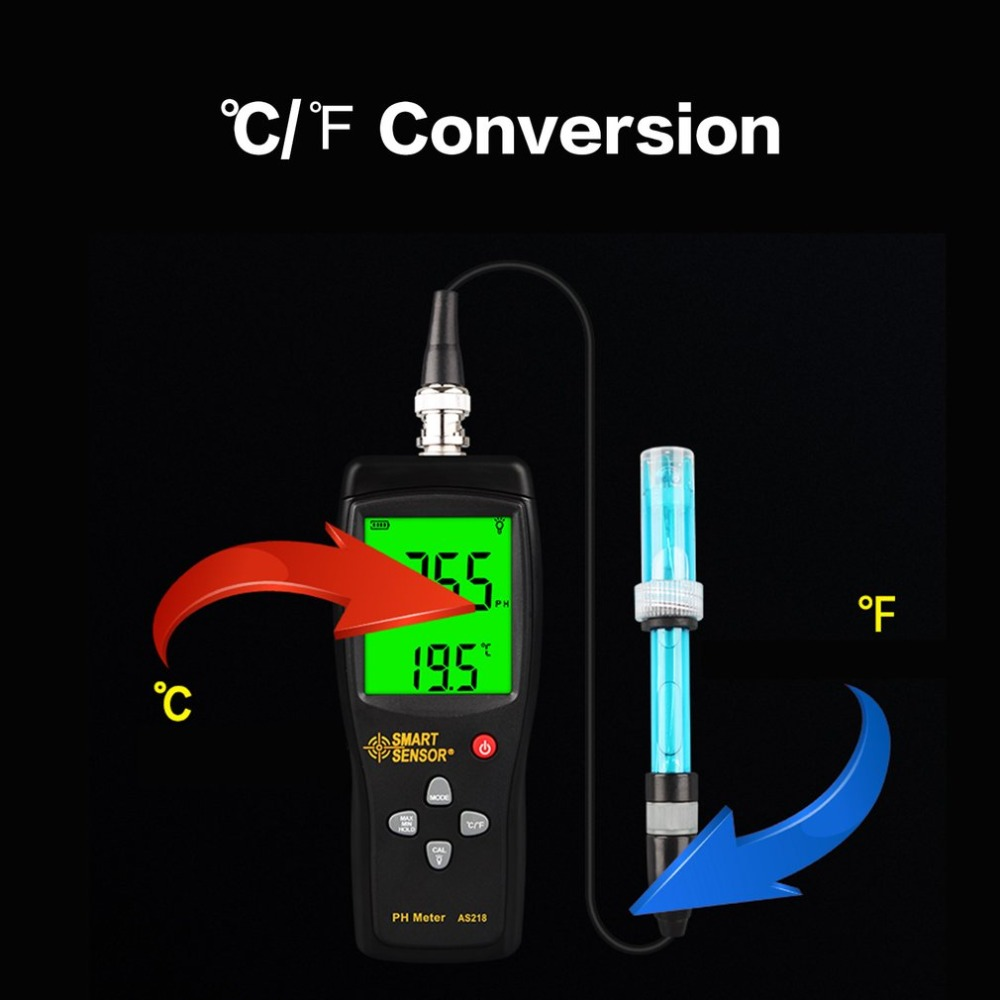Smart Sensor AS218 Digital PH Meter Gamma 0.00 ~ 14.00pH Suolo PH Tester di Acqua PH Acidità Meter Display A CRISTALLI LIQUIDI Liquido PH Meter - 5